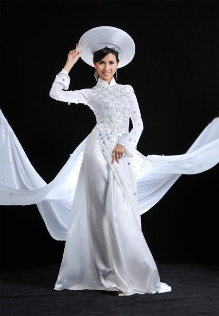 White Ao dai, western style for