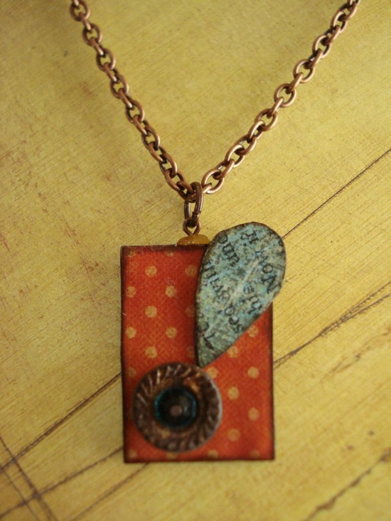loves me...fUnKy rUsty gRoOved nUt fLoWer peNdAnt neCkLaCe. $16.00, via Etsy. #handmade #jewelry