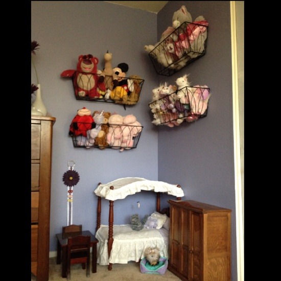 My 1st organization project found on Pinterest. I love the stuffed animal organization. Who would have thought Home Depot planters would look so good!