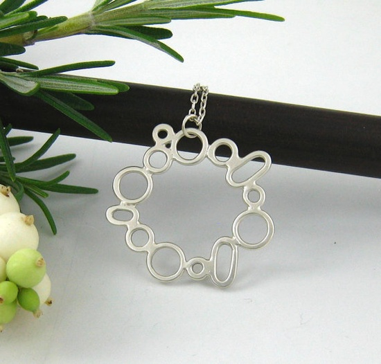 Unique handmade Silver jewelry wreath art silver by sarahwilbanks, $95.00