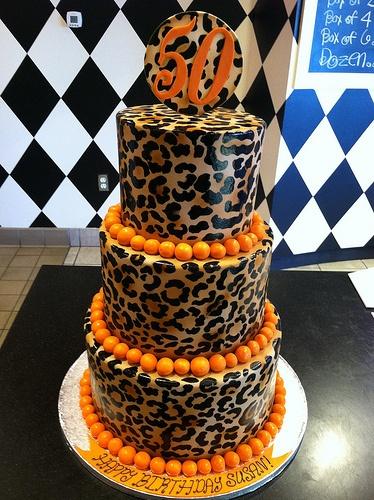 Cheetah 50th Birthday Cake