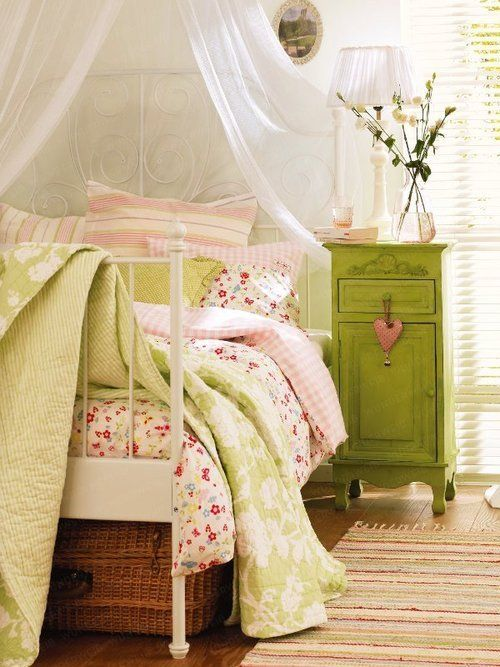 GREEN and pink girl's bedroom.