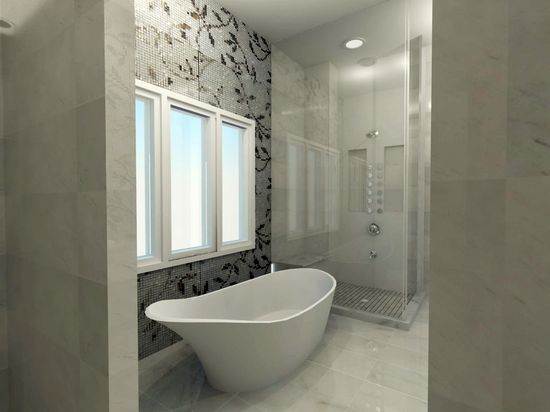 Luxurious Bathroom Design featuring custom mosaic.
