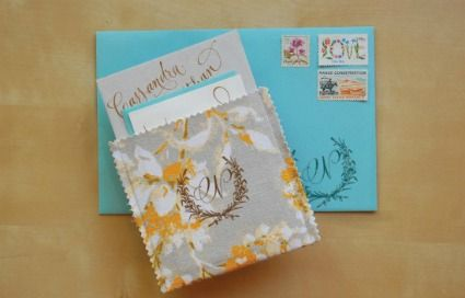 Rubber Stamped Fabric Pocket Wedding Invitations · DIY Weddings