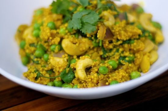 Curried quinoa with coriander and cashews. ~