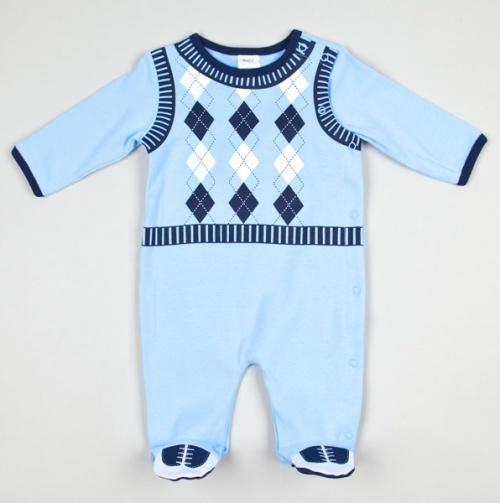 Sweet Baby Boy Sweater Vest Romper.