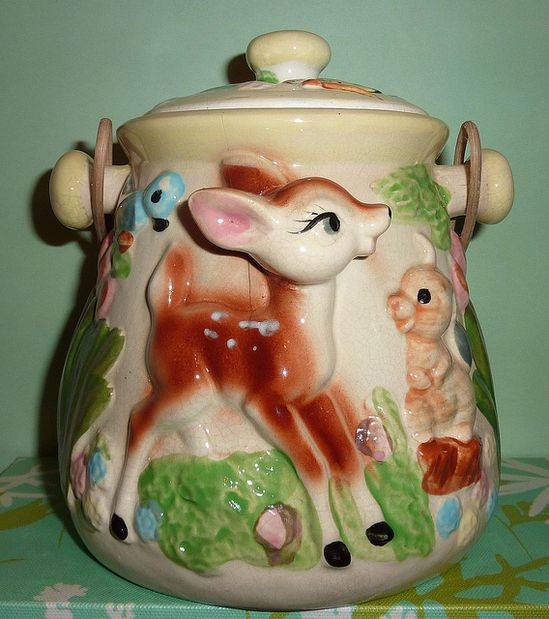 Fawn and fellow woodland creature adorned cookie jar. #vintage #1950s #kitchen #kitsch