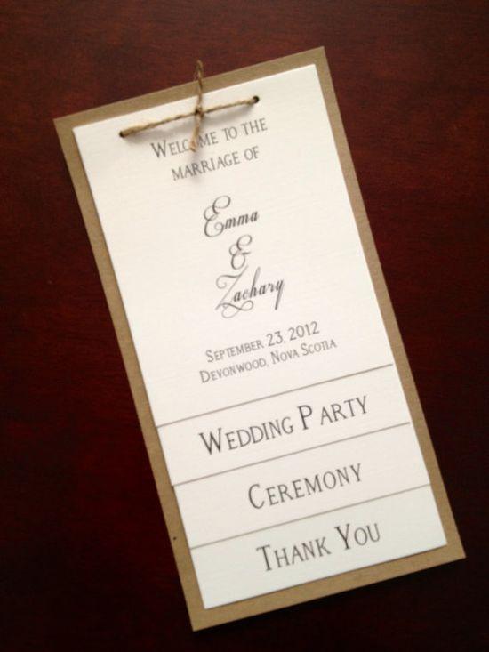 Kraft & Linen Rustic Wedding Program by SunnyAndCo on Etsy, $4.00