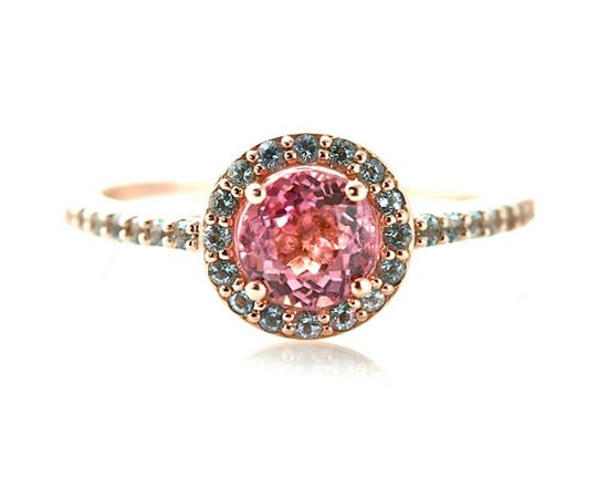 14K Pink Tourmaline Ring Aquamarine Halo Custom Engagement Ring 14K White Yellow or Rose Gold Palladium via Etsy