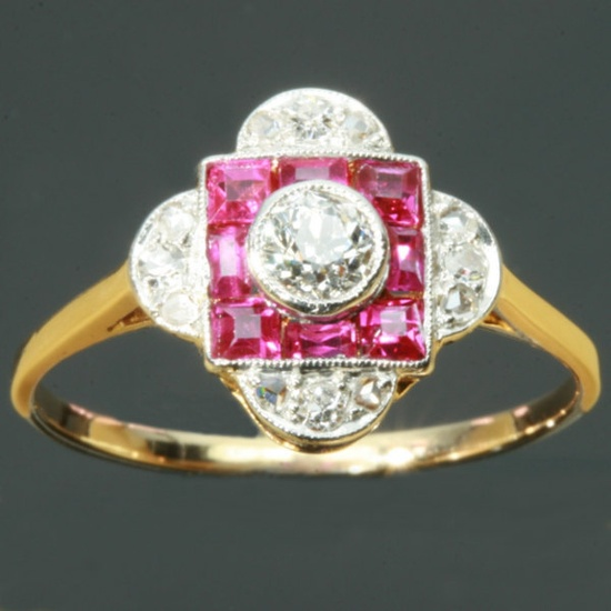 Diamond ruby engagement ring Art Deco period. $3,025.00, via Etsy.