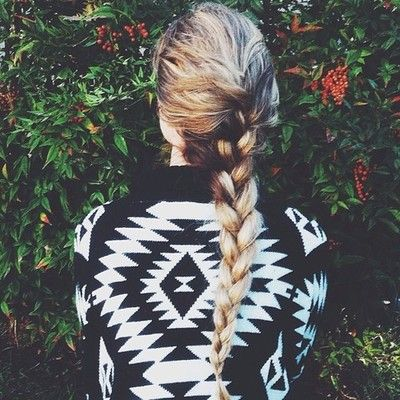 Aztec sweater & braided hair