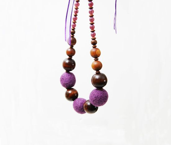 Purple Necklace Felted Ball Necklace Boho Wood by elenasfelting, $55.00