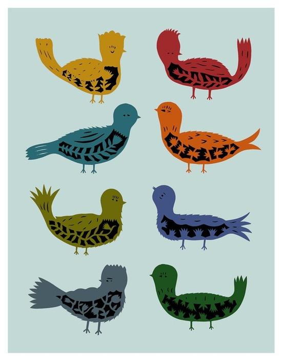 Eight Little Birds by elsita #Illustration #Birds #elsita