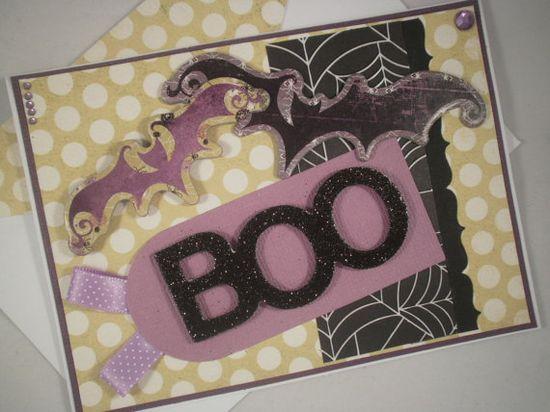 Boo Bats Handmade Halloween Card by ComingUpCrafts