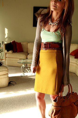 yellow skirt + green tee + brown cardi + leather belt & bag