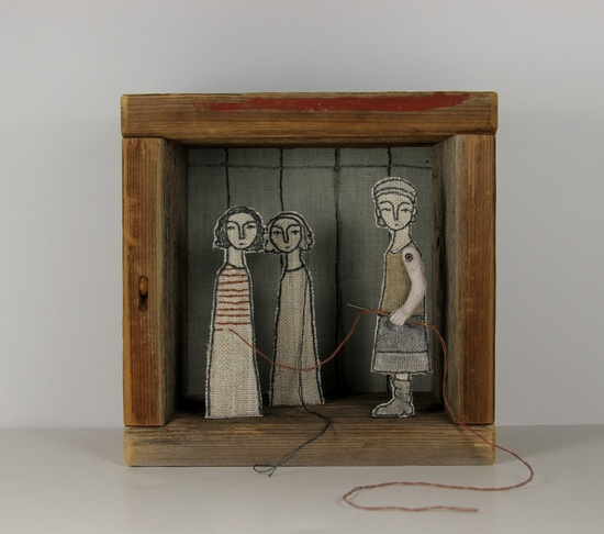 Self Portrait #1 the embroiderer, hand embroidered diorama. By Cindy Steiler. #rowenamurillo