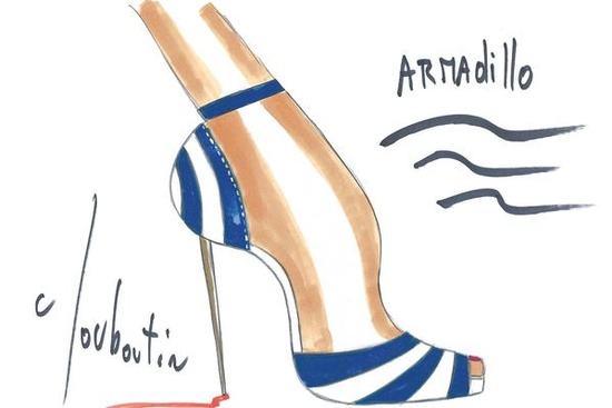 Armadillo heels illustration by Christian Louboutin
