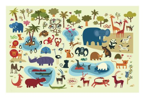 Zoo Animals. Art print from Art.com.