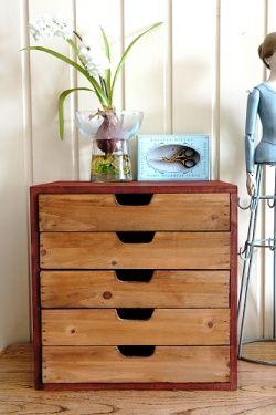 Vintage Style Wood File Organizer Drawer