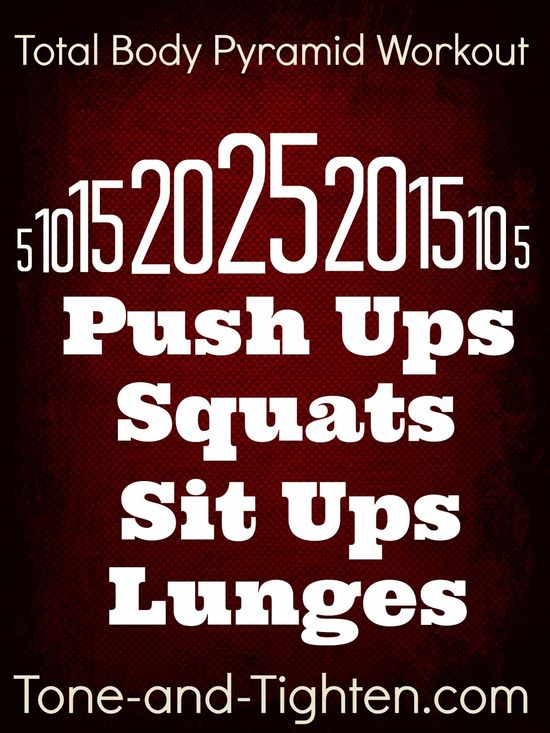 4 moves, 125 reps, one killer total-body workout!! Can you climb the pyramid?! Tone-and-Tighten.com #fitness #workout