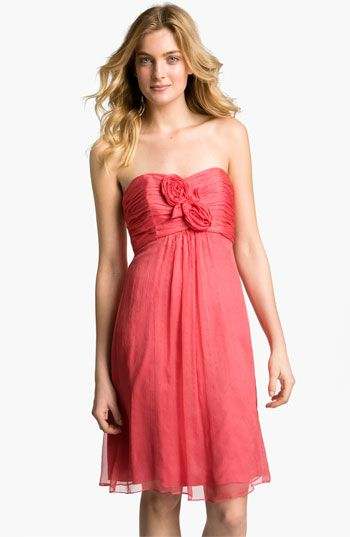 Amsale Strapless Rosette Detail Silk Chiffon Dress @Nordstrom #WeddingSuite