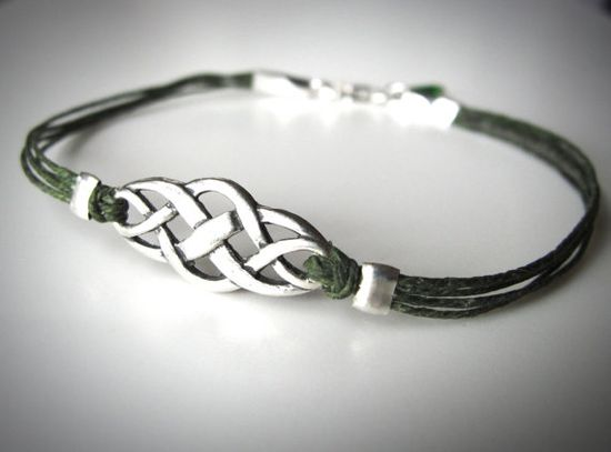 Sterling Celtic Knot bracelet on Irish waxed linen from JewelryByMaeBee on Etsy.