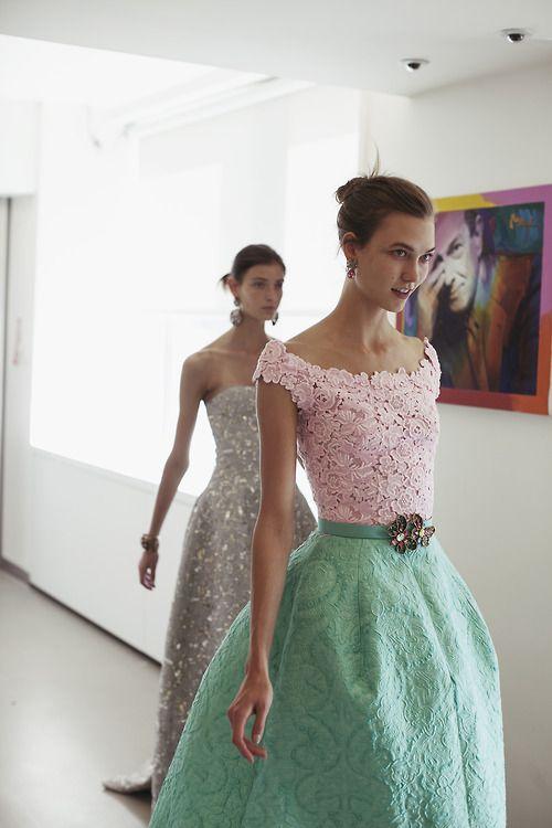Oscar de la Renta fittings...look at that beautiful lace!