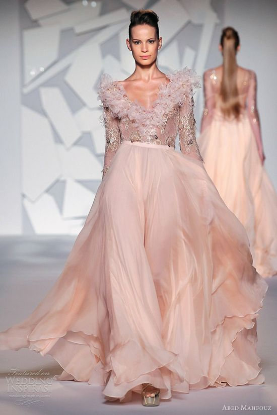 Abed Mahfouz fall 2012 couture: Wedding dress-Peach pink long sleeve gown