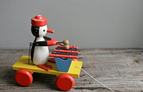 // wood penguin toy
