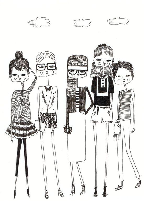 ? Quirky girls Fashion illustration van diarysketches