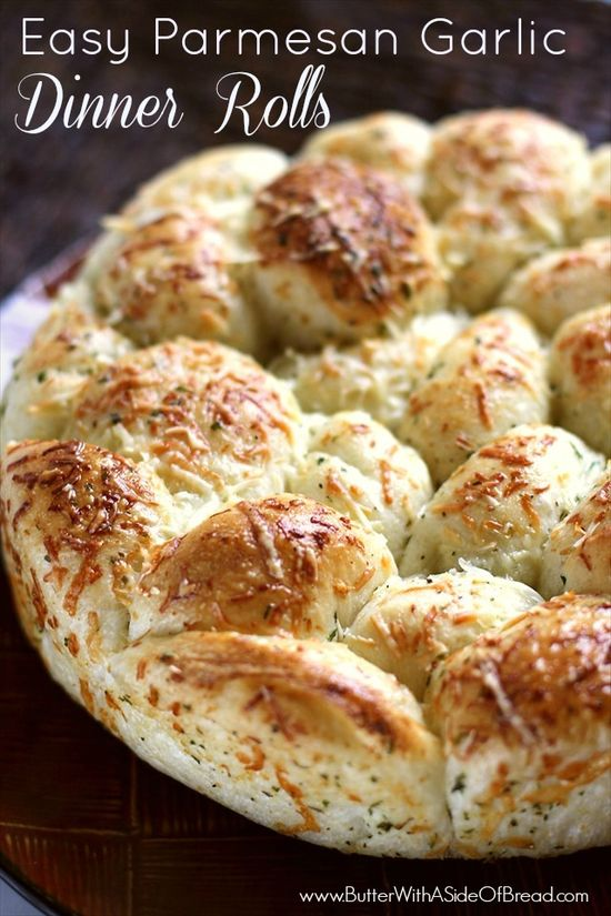 Easy Parmesan Garlic Dinner Rolls ~ Butter with a Side of Bread #recipe #bread