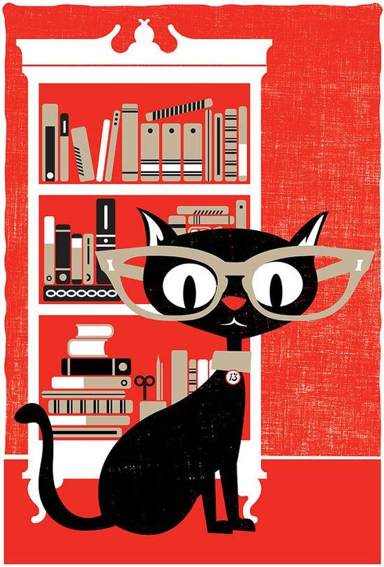 Screenprint Poster Print Black Cat Lucky 13 - Silkscreen Art Print Book Cat Lover Poster via Etsy