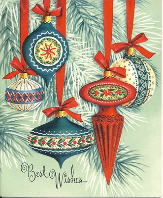 Ornaments on a vintage holiday card.