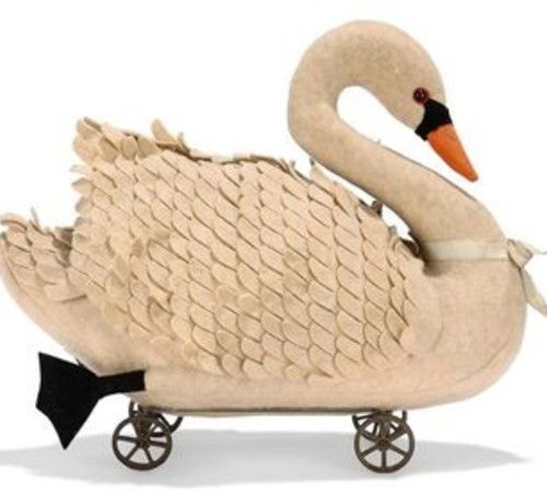 c. 1900 Felt Swan on Wheels for Child