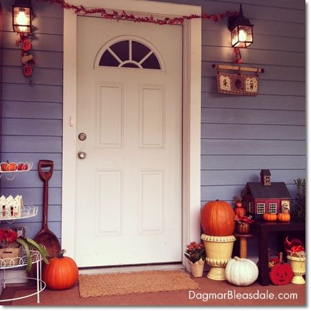 DIY fall decor ideas for Blue Cottage porch