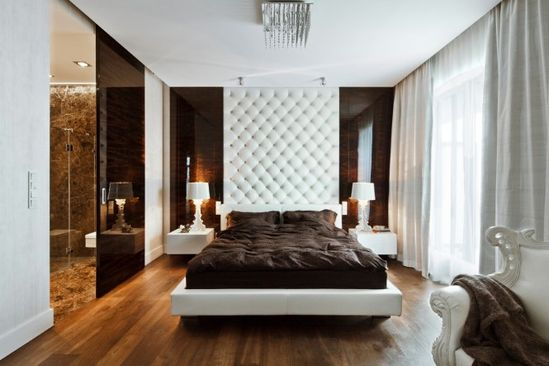 White Brown Bedroom In Sleek and Sumptuous Poland Apartment