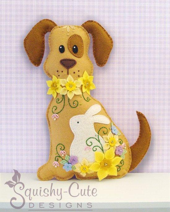 Dog Stuffed Animal Pattern - Felt Plushie Sewing Pattern & Tutorial - Daffodil the Easter Dog - Embroidery Pattern PDF via Etsy