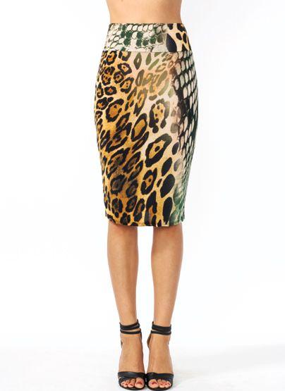 Wild Animal Pencil Skirt