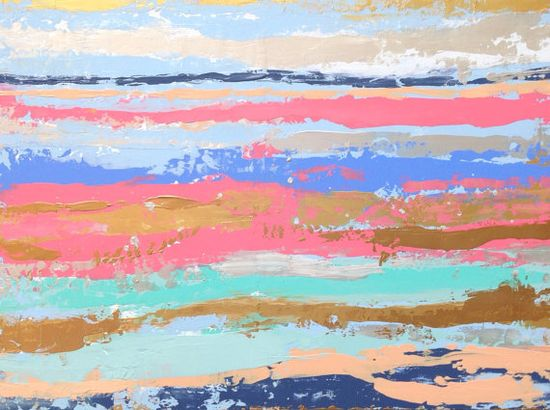 Pastel Abstract Painting 18x24 Pink Gold by JenniferFlanniganart