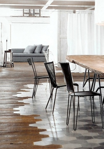 wood floors into tile.  (not this tile, but cool idea)
