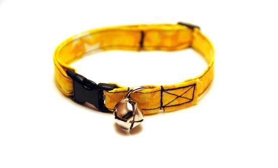 SALE 15% off - Breakaway Adjustable Cat Collar - Mustard and Bright Yellow Shooting Stars