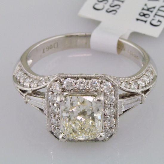 1.86 carat Cushion Cut Diamond Engagement Ring Fancy Light Yellow 18K White Gold. $2,189.99, via Etsy.