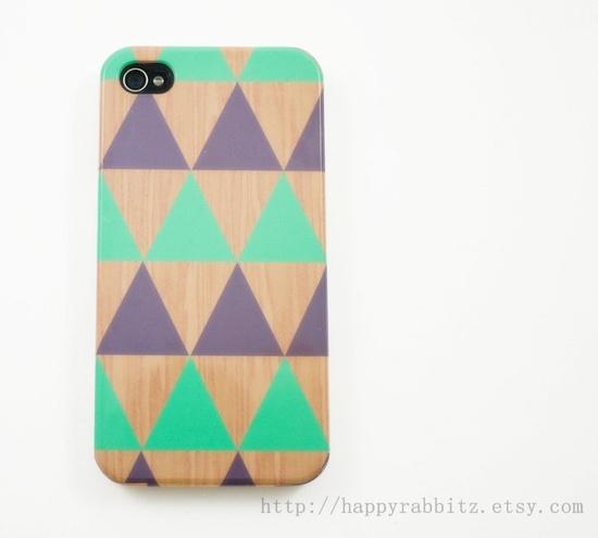 Geometric Triangle Mint Grey Wood iPhone 4 Case, iPhone 4s Case, iPhone 4 Cover, Hard iPhone 4 Case. via Etsy.