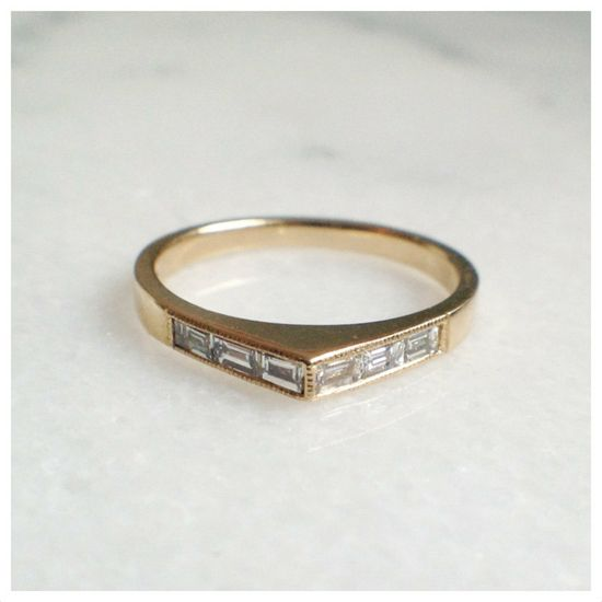 Wide Bateau Ring 14K by ClaireKinder on Etsy