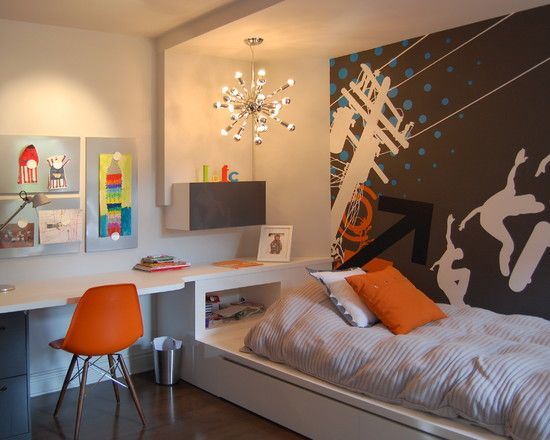 Teen Desk Wall Unit Design, Pictures, Remodel, Decor and Ideas - page 8. bed built on storage base with desk running along wall
