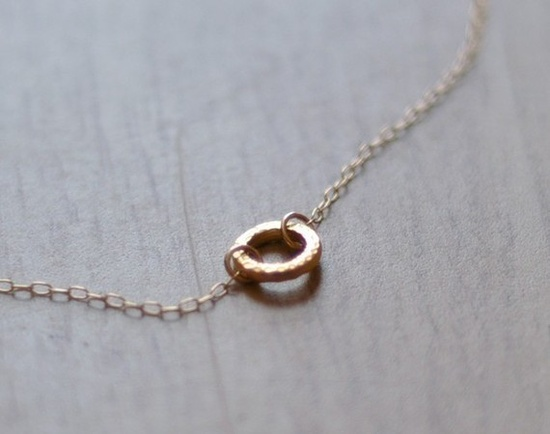 Gold halo  tiny gold circle ring necklace on gold filled by edor, $21.00