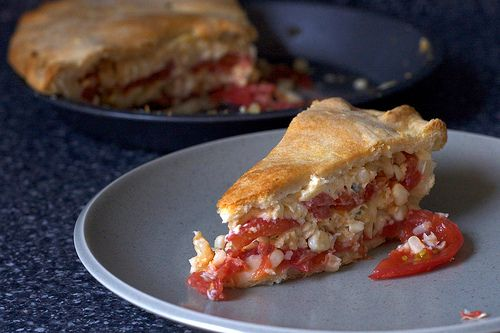 tomato and corn pie-- for using up the extra tomatoes in my garden