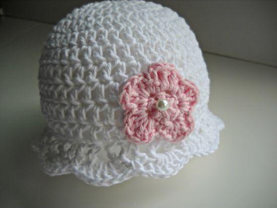 White  Baby Hat Pink Flower Crochet Cotton Infant Summer Cap via Etsy