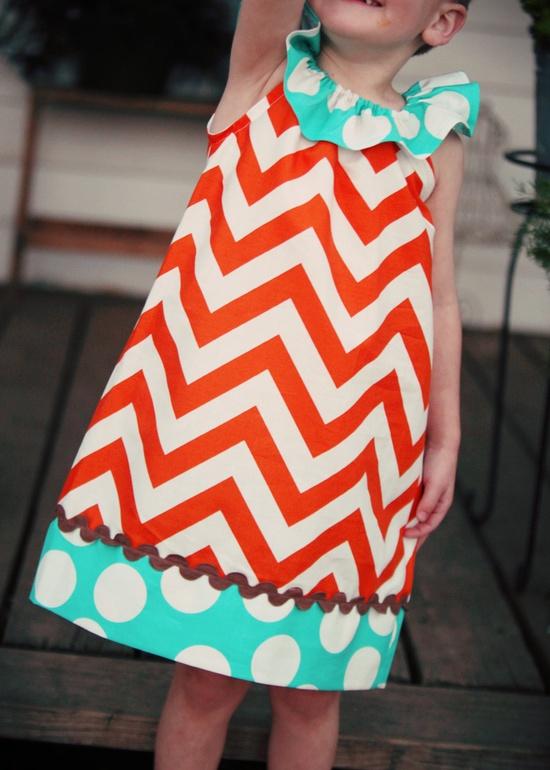Orange Sherbert Chevron Ruffle Dress Girls by mudpuddlesdandelions, $28.00 Adorable!!