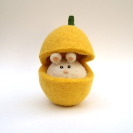 felted butternut mouse